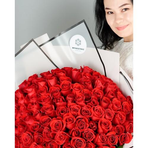 Купить на заказ Букет из 101 красной розы с доставкой в Аягозе