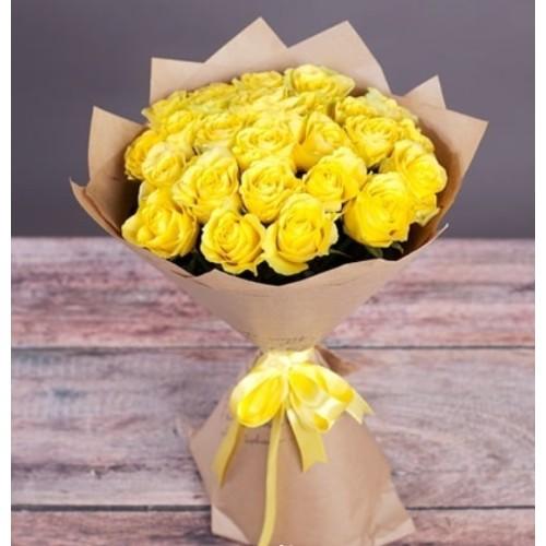 Купить на заказ Букет из желтых роз с доставкой в Аягозе
