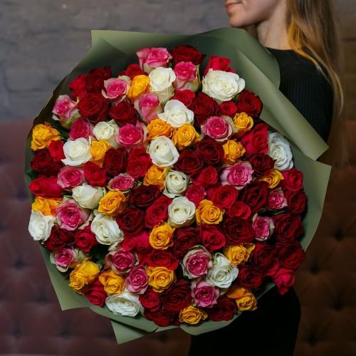 Купить на заказ Букет из 101 розы (микс) с доставкой в Аягозе